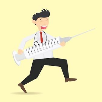 Arts met grote injectie cartoon vector illustratie