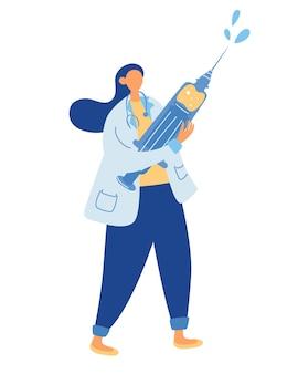 Arts met grote spuit en vaccin. concept geneeskunde beschermt mensen tegen griep. geneeskunde beschermt de bevolking tegen ziekteverwekkers van het covid-19-virus. vector illustratie