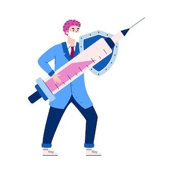Arts met injectiespuit en schild cartoon vectorillustratie geïsoleerd
