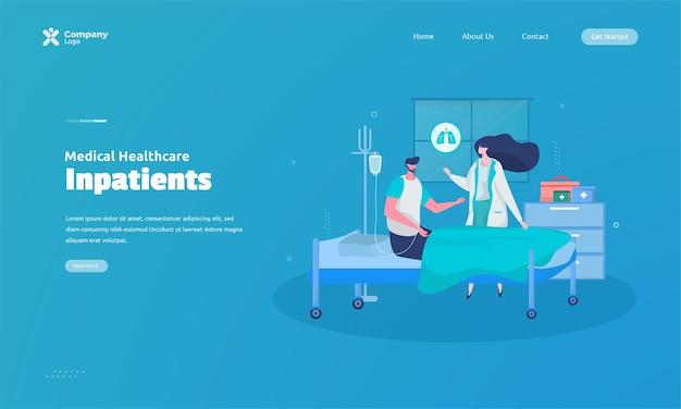 Arts met intramurale patiënt in het ziekenhuis op het concept van de bestemmingspagina
