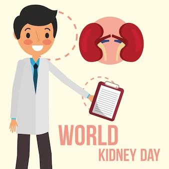 Arts met klembord wereld nier dag
