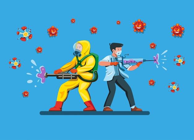 Arts met man dragen hazmat pak vechten en vernietigen bacterievirus gebruik ontsmettingsmiddel en spuit als wapen in strip cartoon vlakke afbeelding