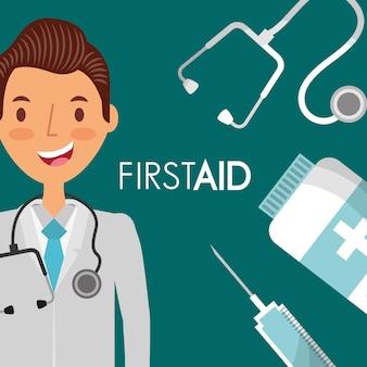 Arts met sthethoscope en geneeskunde eerste hulp