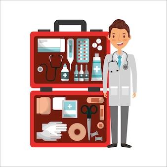 Arts met sthetoscope en ehbo koffer nood gereedschap