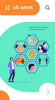 Arts met tips voor bescherming tegen coronavirus en preventie van verspreiding van epidemieën