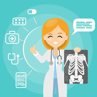 Arts met x-ray. vrouw met ray beelden.