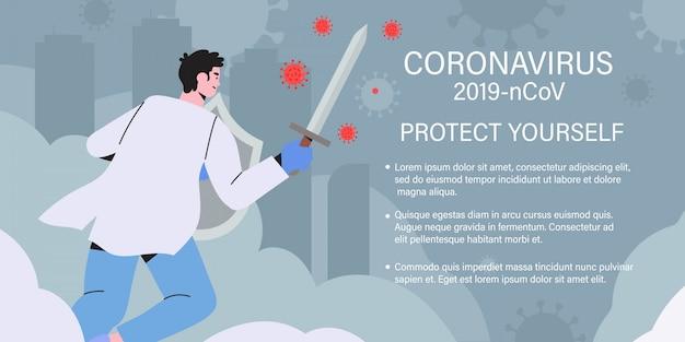 Arts met zwaard en schild het bestrijden van pandemie van het coronavirus.