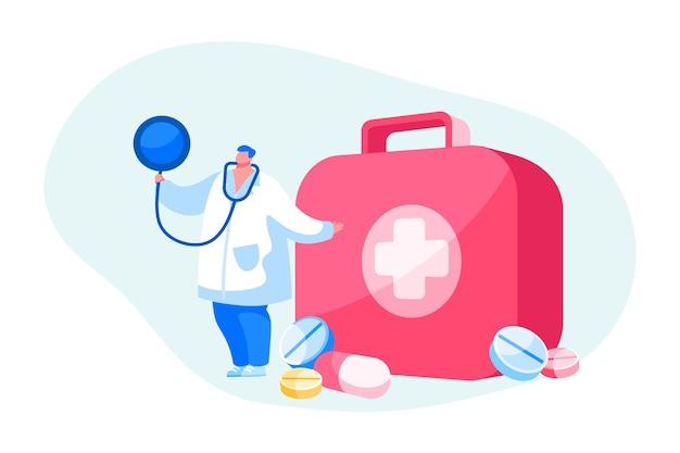 Arts of verpleegster karakter in gewaad met stethoscoopstandaard