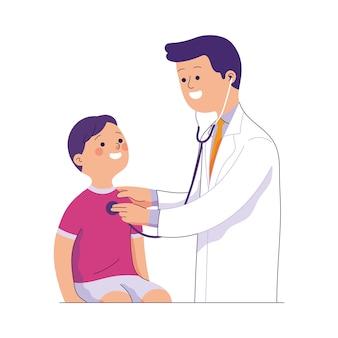 Arts onderzoekt de borst van een kind met een stethoscoop