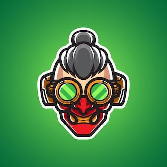 Arts oni cyborg mascot-logo