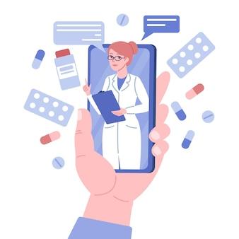 Arts online consult. grote platte hand houdt telefoon vast, doc-vrouw adviseert vanaf mobiel scherm, externe gezondheidszorg, medische app. cousulting-ontwerp voor smartphone vectorconcept