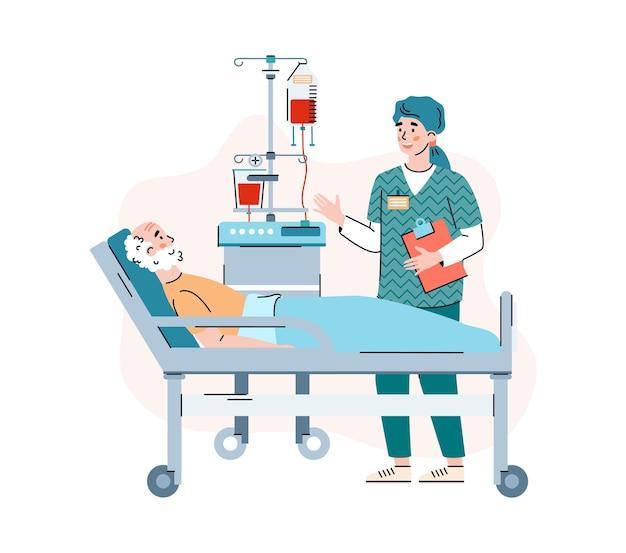 Arts raadpleegt oudere patiënt in geïsoleerde ziekenhuis cartoon.