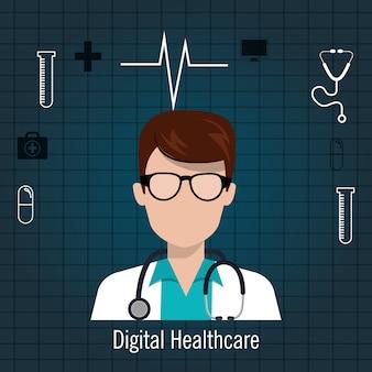 Arts stethoscoop pictogram digitale gezondheidszorg