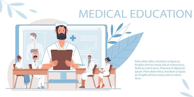 Arts stripfiguren en verpleegsters in uniform, laboratoriumjassen