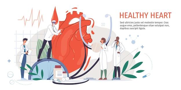 Arts stripfiguren in uniformen, laboratoriumjassen met medische hulpmiddelen en symbolen