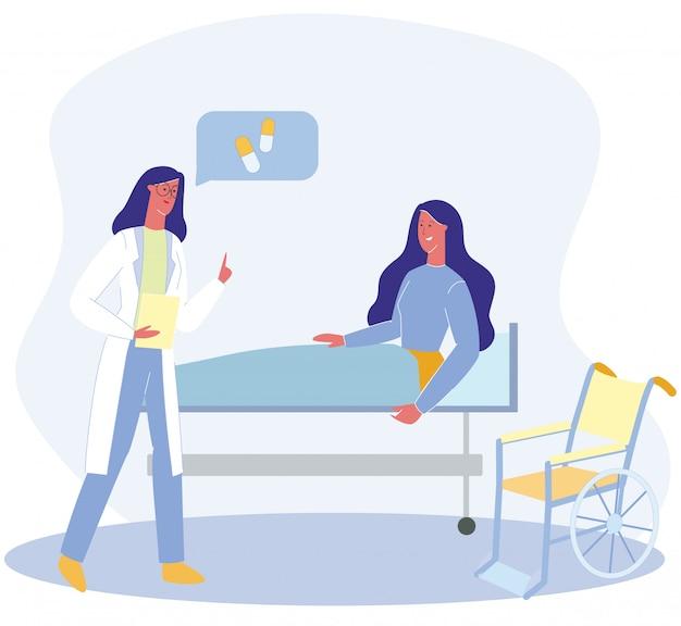 Arts-therapeut praat met gehandicapte vrouwelijke patiënt