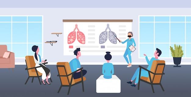 Arts toont gewonde longen met coronavirus symptomen op medisch bord presentatie voor medische werknemers in conferentie kamer epidemie mers-cov virus wuhan 2019-ncov horizontale volledige lengte