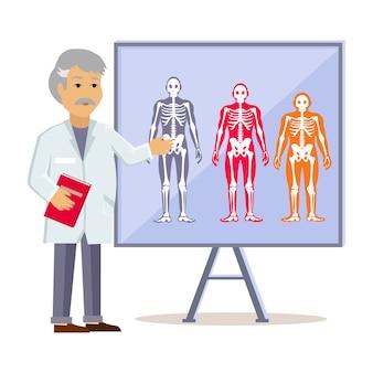 Arts toont type menselijk lichaam