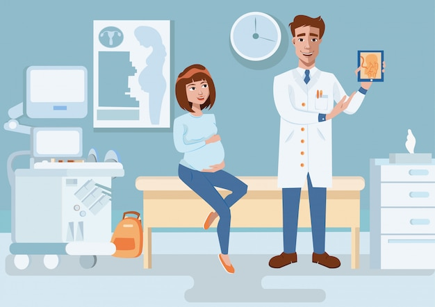 Arts toont ultrasone beeld zwangere vrouw.
