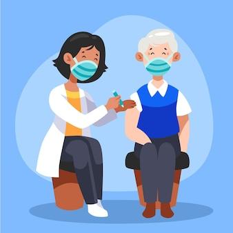 Arts vaccin injecteren aan een patiënt in de kliniek Gratis Vector