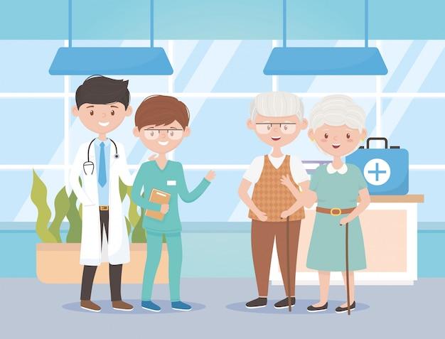 Arts verpleegkundige en grootouders ziekenhuis, artsen en ouderen