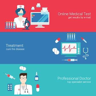 Arts verpleegkundige medische zorg concept platte banners sjabloon set