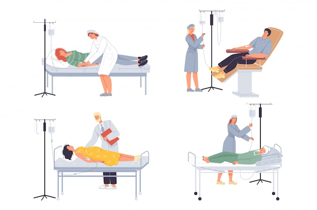 Arts verpleegkundige zet druppelaar aan patiënt medische set