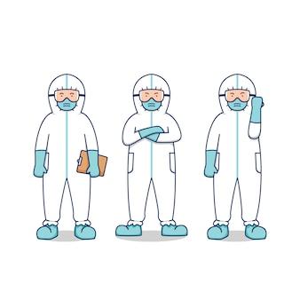 Arts verpleegster medische ziekenhuis mensen met hazmat biohazard pak voor corona ziekte pandemische epidemie set