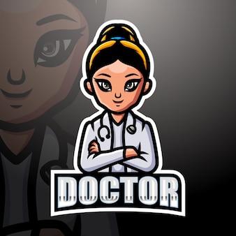 Arts vrouw mascotte esport illustratie