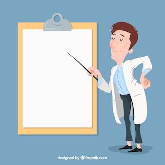 Arts wijzend op klembord