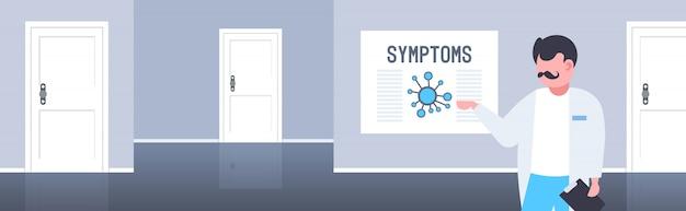 Arts wijzend op medisch bord met coronavirus symptomen epidemie mers-cov virus wuhan 2019-ncov ziekenhuis kantoor interieur horizontaal portret