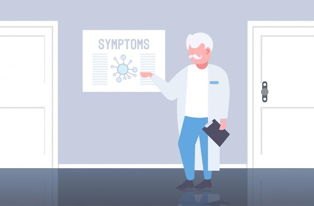 Arts wijzend op medisch bord met coronavirus symptomen epidemie mers-cov virus wuhan 2019-ncov ziekenhuis kantoor interieur horizontaal volledige lengte
