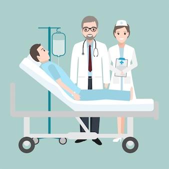 Artscontrole patiënt in het bedziekenhuis met een dalingsteller