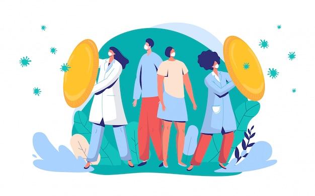 Artsen beschermen burgers tegen virusillustratie. mensen en artsenkarakter die gezichtsmasker dragen vechten tegen covid-19