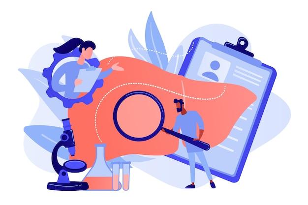 Artsen die enorme lever met vergrootglas en microscoop onderzoeken. cirrose, cirrose van de lever en leverziekte concept op witte achtergrond. roze koraal bluevector geïsoleerde illustratie