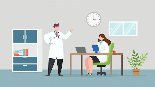 Artsen die in het ziekenhuisruimte bespreken, vlakke vectorillustratie