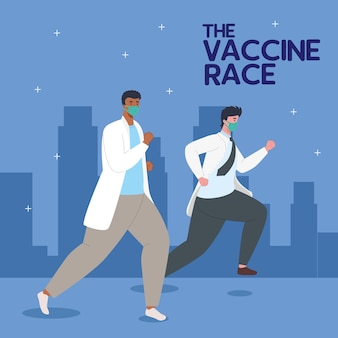 Artsen die rennen voor het ontwikkelen van coronavirus covid19-vaccinillustratie