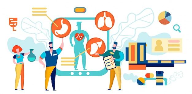 Artsen doen onderzoek met digitaal apparaat. geduldig