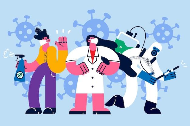 Artsen en mensen met maskers tijdens covid pandemisch concept