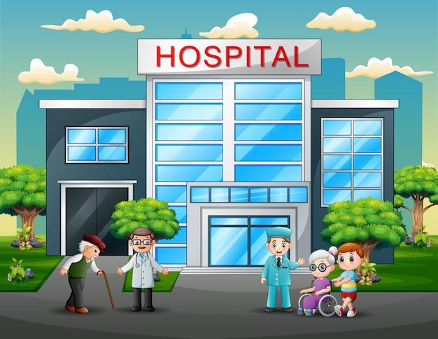 Artsen en patiëntenbeeldverhaal vooraan het ziekenhuis