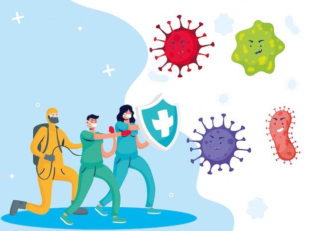 Artsen en schonere vechten virus met schild stripfiguren