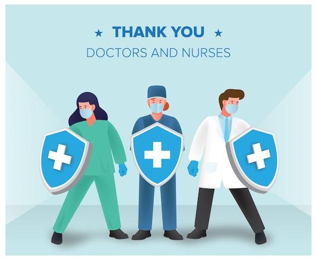 Artsen en verpleegkundigen bestrijden het coronavirus met gratis download van het schild