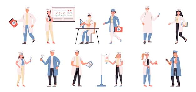 Artsen en verpleegkundigen platte set