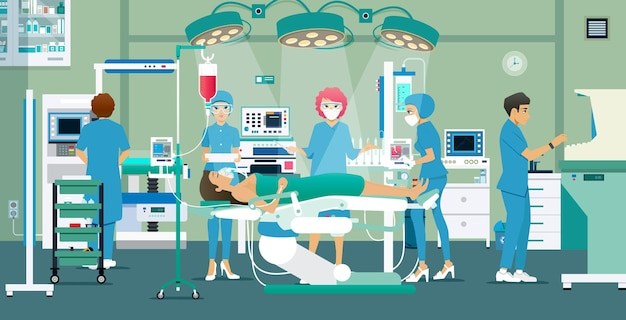 Artsen en verpleegsters behandelden een patiënt in de operatiekamer.