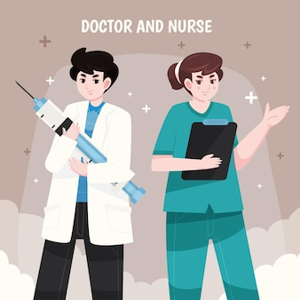 Artsen en verpleegsters illustratie