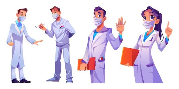 Artsen en verpleegsters met gezichtsmaskers