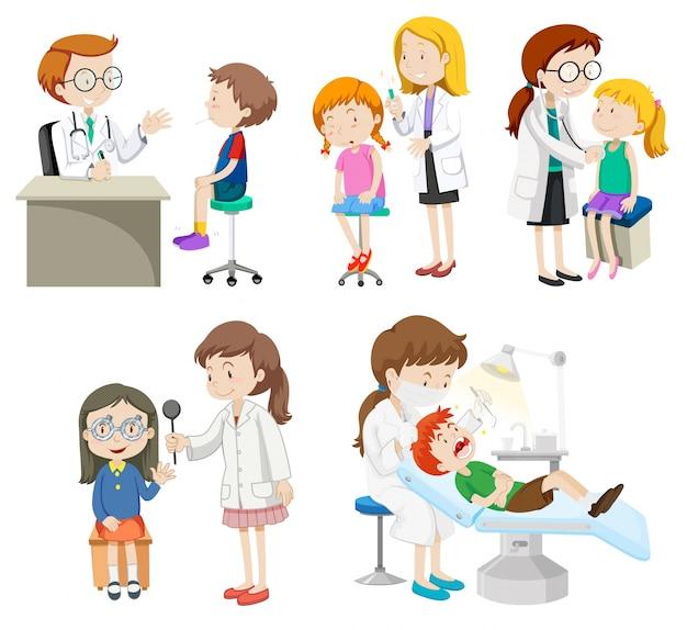 Artsen geven behandeling aan patiënten illustratie