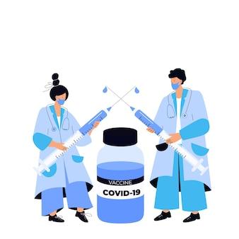 Artsen houden enorme spuiten vast met het coronavirusvaccin covid-19. vaccinatie campagne. tijd om te vaccineren.