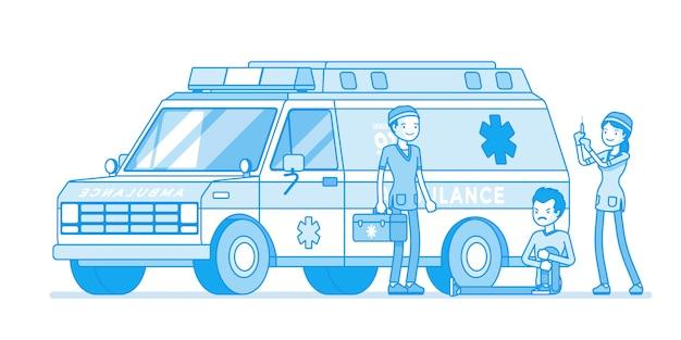 Artsen in de buurt van de ambulance-auto