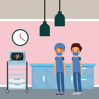 Artsen in het ziekenhuis kamer ekg meubels laden machine